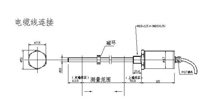 磁致伸缩位移传感器外置安装方法: 对测量范围小于是1000mm的传感器,建议选用L1安装附件;大于1000mm的,建议选用L2安装附件。 1.用传感器支架将传感器卡住,并用锁紧螺母将支架固定在传感器的螺纹上。 2.将开口磁环用两个防松垫圈#6 和两个专用螺钉M312 固定在磁环支架上,当将磁环装在测杆时,螺钉头部应朝向六方基座侧;磁环应尽量与测杆同心且无接触,但磁环稍有偏心不会影响传感器的性能。 3.将固定板条紧绕在测杆的最末端,并用两个M38螺钉和两个M3螺母固定好。 注意:L1安装附件只提供一根固