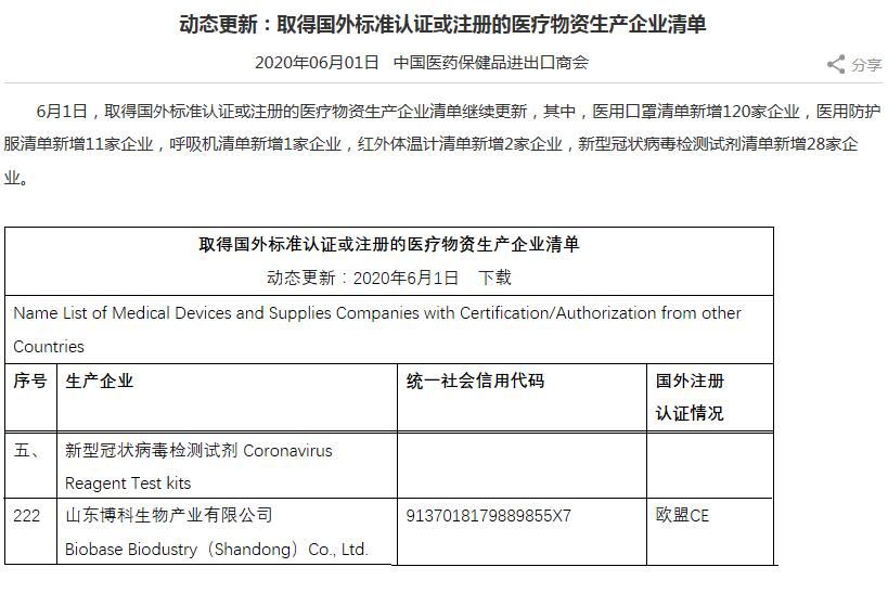 博科生物新冠检测试剂盒已被纳入取得国外标准认证或注册的医疗物资生产企业清单